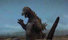 "Godzilla rises from the ground ""Mothra vs. Godzilla"""
