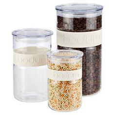 White Band Presso Glass Canisters by Bodum®http://www.containerstore.com/shop?productId=10033430&N=&Nao=20&Ntt=airtight