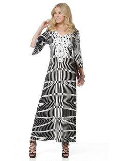RAXSTA Maxi ασπρόμαυρο φόρεμα, Cool jersey