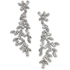 kate spade new york Silver-Tone Marquise Crystal Drop Earrings (8.140 RUB) ❤ liked on Polyvore featuring jewelry, earrings, clear, clear drop earrings, crystal earrings, clear crystal earrings, silver tone earrings and kate spade