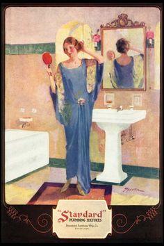 gorgeous vintage art deco posters | Vintage ART DECO Blue Flapper Girl Dress BATHROOM Bath Beauty Decor ...