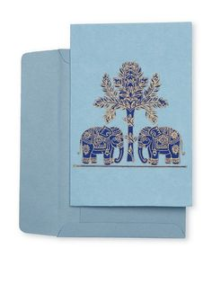 Block-Printed Elephant Card Set from India