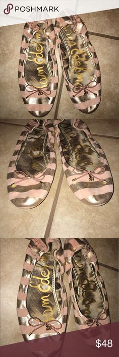 Sam Edelman Flats Size 9 Sam Edelman Flats. Beautiful blush and gold stripes. Shows some wear but still in excellent condition. Sam Edelman Shoes Flats & Loafers