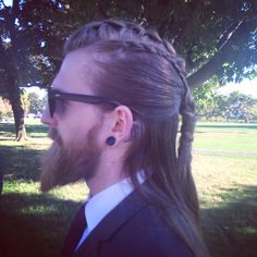 "nealdk: "" I told my friend to braid my hair like a viking for a wedding. I think she nailed it. """