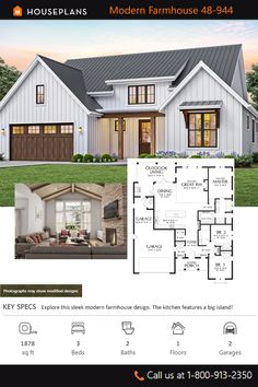 This contemporary design floor plan is 1878 sq ft and has 3 bedrooms and has 2 bathrooms. Barn House Plans, Craftsman House Plans, New House Plans, Dream House Plans, Small House Plans, Craftsman Homes, Small Farmhouse Plans, Modern Farmhouse Exterior, Farmhouse Contemporary