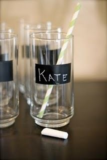 I love chalkboard paint and like the idea of being able to label glassware