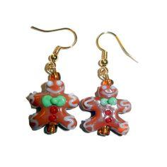Gingerbread Lampwork Earrings by CloudNineDesignz on Etsy, $15.00