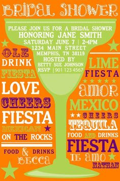 Margarita and Mexican Fiesta invitations for bridal shower.