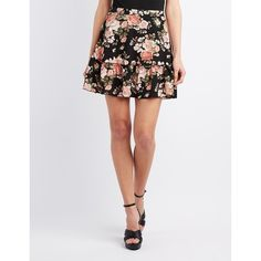 Charlotte Russe Floral Drop Waist Skater Skirt ($19) ❤ liked on Polyvore featuring skirts, mini skirts, black multi, floral flare skirt, floral chiffon skirt, short mini skirts, flared skater skirt and ruffle skirt