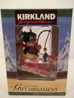 KIRKLAND COLLECTIBLE GIFT ORNAMENTS - Penguin Fishing Through Ice