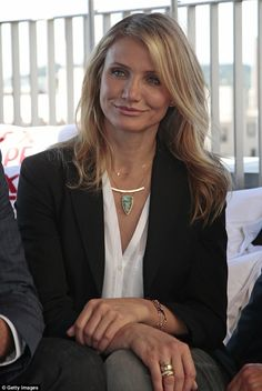 Fabulous: Blonde beauty Diaz isn't worried about aging and feels better than ever in her forties. Here she's seen in a stylish suit at the Barcelona photocall for Sex Tape on June 19