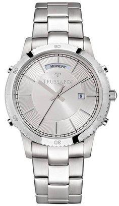 Trussardi T-Style Quartz Men's Watch Stainless Steel Bracelet, Stainless Steel Case, Online Watch Store, Michael Kors Watch, Chronograph, Watches For Men, Quartz, Crystals, Silver