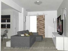 Sala clean e ao mesmo tempo rústica. http://dicasdearquitetura.com.br/sala-de-tv/