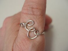Adjustable Silver Initial Wire Ring Letter E by chuxgrafix on Etsy