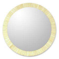 Bone mirror, 'Harvest Moon' (India) on moonlightermade.com