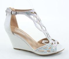 0cf86b8c13f85 NEW Women s Sexy Bridal Open Toe Glitter Rhinestone Wedge Party Shoes Size 5