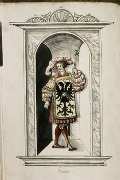 Title: Treatise of German military organisation, Date: 16th century, 2nd quarter, Description: A Herald, wearing a tabard bearing the imperial eagle