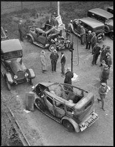 Wrecked autos at yard by Boston Public Library, via Flickr