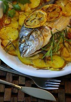 Orata Al Forno Baked Sea Bream With Potatoes Recipe - Genius Kitchensparklesparkle Potato Recipes, Fish Recipes, Seafood Recipes, Cooking Recipes, Healthy Recipes, Vegetarian Recipes, Greek Dishes, Fish Dishes, Sea Bream Recipes