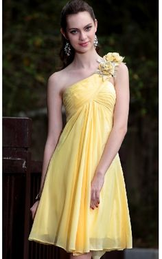 Cute Yellow One Flower Shoulder Chiffon Elastic Velvet Ruffles Short-mini Skirt