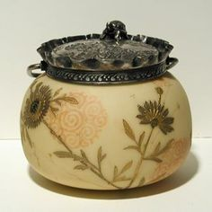 """Currier Collections Online - """"Crown Milano Covered Biscuit or Cookie Jar"""" by Mount Washington Glass Company"""