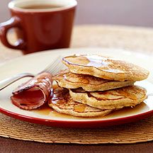 Multi Grain Pancakes with Canadian Bacon and Maple Syrup (Weight Watchers)
