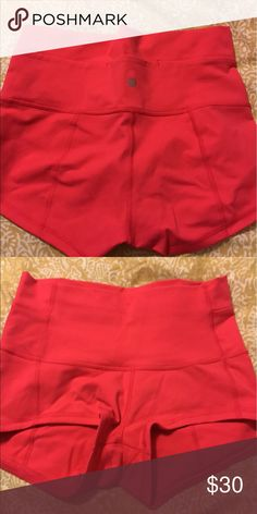 Wonder Under Shorts Coral color shorts. Bought new but does not have tags anymore. Only worn once lululemon athletica Shorts