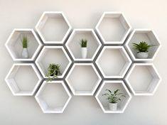 White wall Shelves - Rustic White Hexagon Wall Shelf in Solid Oak Rustic White Oak Honeycomb Shelves Hexagon Shelf. Oak Shelves, White Shelves, Floating Shelves, Cube Shelves, Geometric Shelves, Honeycomb Shelves, Hexagon Wall Shelf, Shelf Wall, Tv Regal