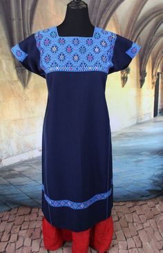Fine Blue Huipil Mayan Chiapas Mexico Hand Woven Frida Cowgirl Hippie Boho Style #Handmade #HuipilMexicanDress