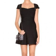 Herve Leger Cap-Sleeve A-Line Bandage Dress Black Only $189  -Sweetheart neckline -Cap sleeves -Hem hits above knee -Back zipper with hook-and-eye closure -Rayon,nylon,spandex