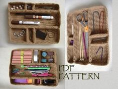 Modular Drawer Organizer Tray Insert Crochet Pattern Organize your drawers or desk with this modular tray. It`s perfect for your craft accessories as well as stationery and other bits and bobs. It will surely make a lovely gift for fellow crafters too. Crochet Organizer, Crochet Storage, Crochet Hooks, Knit Crochet, Craft Accessories, Crochet Accessories, Crochet Basket Pattern, Crochet Patterns, Crochet Ideas