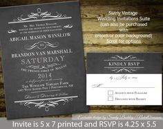 Chalkboard Wedding Invitations  vintage chic by NotedOccasions