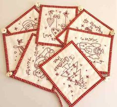 Sewalong blocks for Christmas stitchery banner; create a banner out of a series of cross-stitch = really cute!!