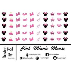 Pink Minnie Mouse Waterslide Nail Decals - Set of 50 -- You can get additional details at the image link. (This is an affiliate link) #NailArtAccessories