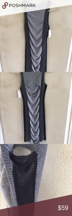 Blanc Noir Sweater Dress Beautiful knit dress!  It is made of silk and cotton. It has mesh side and back ventilation with a cut-out back detail. It has side rouching for easy fit. Blanc Noir Dresses Midi