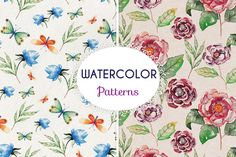 Watercolor patterns by Elena Neculae on @creativemarket