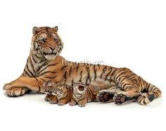 Papo 50156 Nursing Tigress Lying with Cubs Model Replica Tiger Toy - NIP