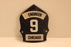 Vintage Chicago Fire Department ENGINEER Helmet Front Engine 9