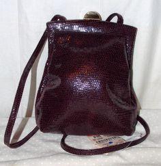 Rodo Italy Purse Burgundy Wine Textured Snakeskin Shoulderbag Evening Bag $392   eBay