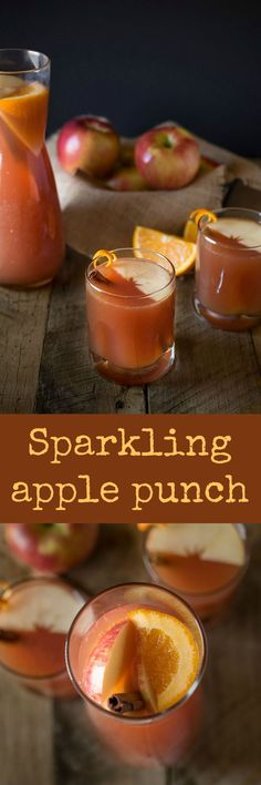 This Sparkling Apple Punch is a refreshing mix of apple cider, cranberry juice and orange juice with a little fizz from sparkling seltzer water for an effervescent and bubbly way to quench a hearty thirst. The perfect fall, family drink. Winter Desserts, Party Desserts, Apple Desserts, Party Drinks, Hot Fudge Cake, Hot Chocolate Fudge, Slow Cooker Desserts, Cranberry Juice, Orange Juice