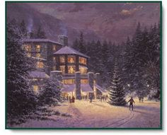 Thomas Kinkade almost heaven painting for sale - Thomas Kinkade almost heaven is handmade art reproduction; You can buy Thomas Kinkade almost heaven painting on canvas or frame. Old Christmas, Christmas Scenes, Christmas Pictures, Vintage Christmas, Christmas Houses, Purple Christmas, Christmas Ideas, Thomas Kinkade Art, Thomas Kinkade Christmas