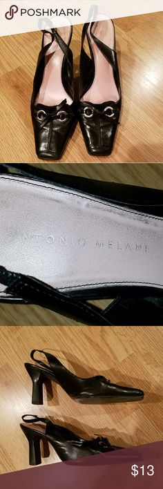"""👠ANTONIO MELANI👠 BLACK HEELS - SIZE 9 These used Antonio Melani heels still have plenty of life left in them! I love these, but I'm unable to wear high heels any more. Heel is 3.5"""" to top of the tap. ANTONIO MELANI Shoes Heels"""