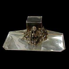Fabulous Silver Plate Egyptian Revival Sphinx Inkwell #2843  BIN $1,200.00