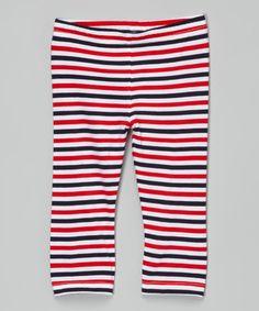 Red & Navy Stripe Capri Leggings - Infant, Toddler & Girls #zulily #zulilyfinds