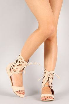 Sabrina-2 Nubuck Ankle Cuff Cut Out Lace Up Flat Sandal