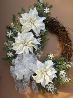 "27"" Christmas Holiday White Flocked Poinsettia Grapevine Wreath  #handmade"