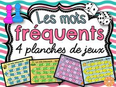 4 planches de jeux pour pratiquer la lecture des mots fréquents. Education And Literacy, French Education, How To Speak French, Learn French, French Classroom Decor, Classroom Ideas, Teaching French Immersion, French Teaching Resources, Reading Resources