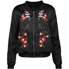 W118 by Walter Baker Reid embroidered satin bomber jacket (€98) ❤ liked on Polyvore featuring outerwear, jackets, black, colorful jackets, multi colored jacket, flight jacket, bomber jackets and embroidered jacket