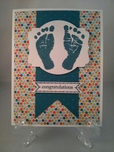 Stampin Up Congratulations Baby Boy Card using the Baby Prints stamp set, Sycamore Street DSP & Island Indigo ink