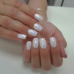 In seek out some nail designs and some ideas for your nails? Here is our set of must-try coffin acrylic nails for fashionable women. White Chrome Nails, White Nails, White Sparkle Nails, White Almond Nails, White Nail Art, Opal Nails, My Nails, Acrylic Nail Designs, Nail Art Designs